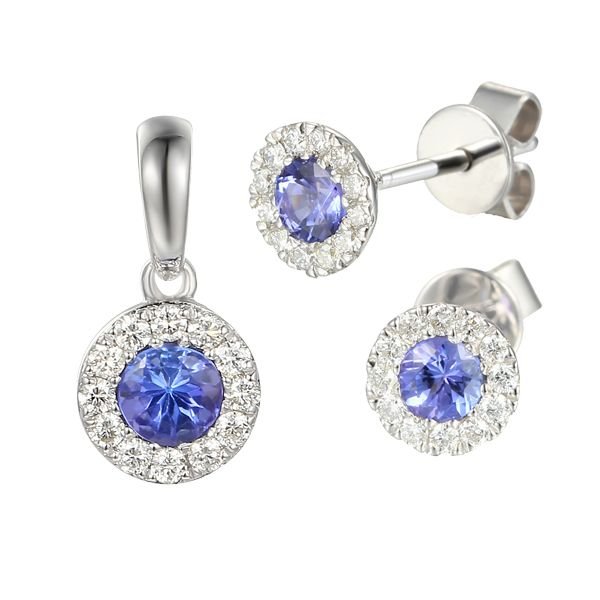 9ct white gold tanzanite & diamond cluster pendant & earrings from AA Thornton Kettering Northampton Stamford Oakham
