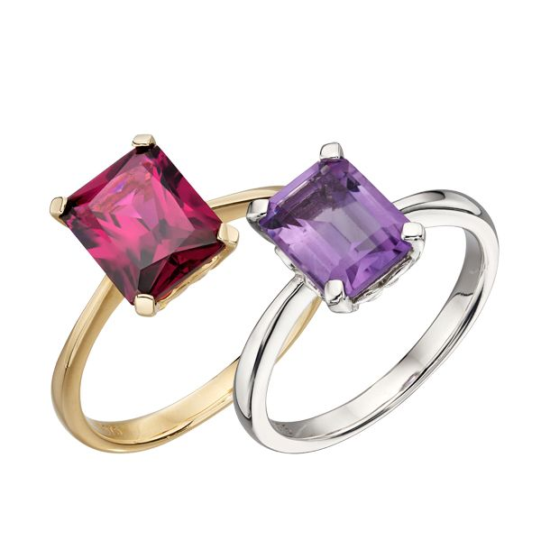 9ct yellow gold Brazilian garnet ring & white gold amethyst ring from AA Thornton Kettering Northampton