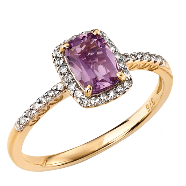 9ct yellow gold amethyst and diamond cluster ring from AA Thornton Kettering Northampton Stamford