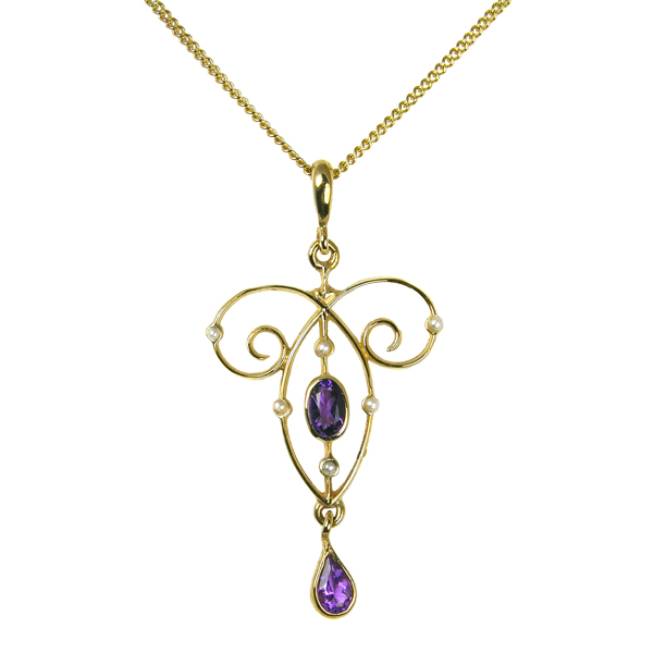 9ct yellow gold amethyst and seed pearl pendant on a chain from AA Thornton Kettering Northampton