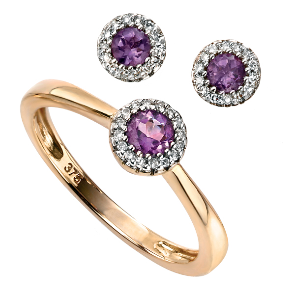 9ct yellow gold amethyst & diamond cluster ring & earrings from AA Thornton Kettering Northampton Stamford