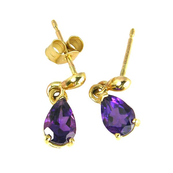 9ct yellow gold amethyst drop earrings from AA Thornton Kettering Nothamptonshire