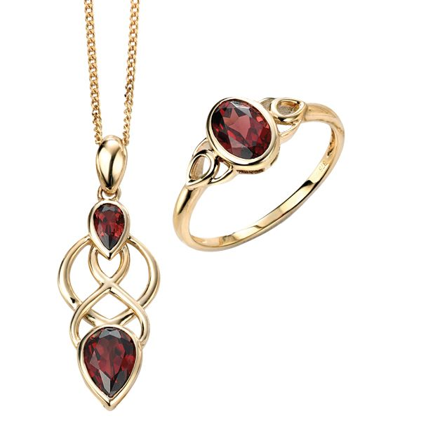 9ct yellow gold celtic garnet ring & pendant on chain from AA Thornton Kettering Northampton