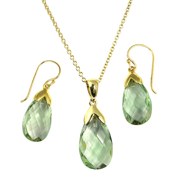 9ct yellow gold facated green amethyst drop earrings and a pendant on a chain from AA Thornton Kettering Northants Northamptonshire