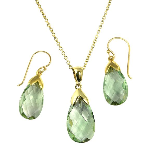 9ct yellow gold facated green amethyst drop earrings & pendant from AA Thornton Kettering