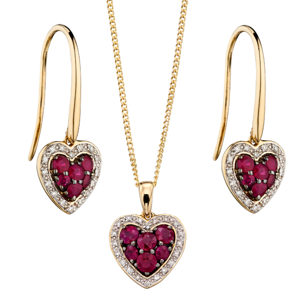 9ct yellow gold ruby and diamond heart cluster pendant and drop earrings from AA Thornton Kettering Northampton