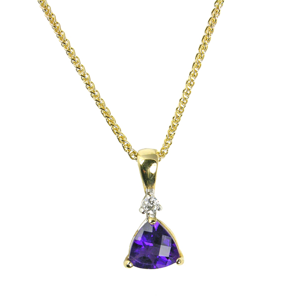 9ct yellow gold trillion cut amethyst and diamond pendant on a chain from AA Thornton Kettering Stamford Northampton