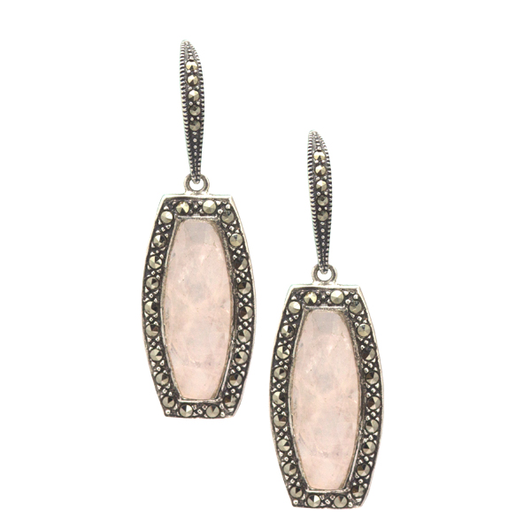 Art Deco inspired silver and pink mother of pearl drop earrings from AA Thornton Kettering Northampton