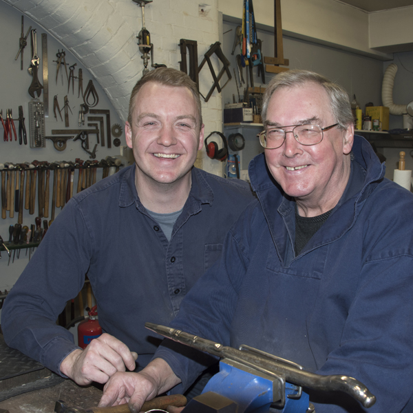 John Garland Taylor together with David in their workshop From AA Thornton Kettering Northampton Stamford