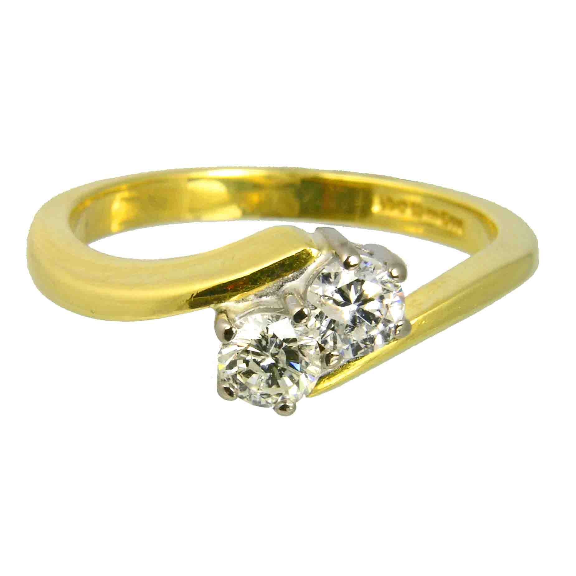 second hand Pre loved 18ct yellow gold 2 stone diamond toi et moi ring from AA Thornton Kettering Northampton