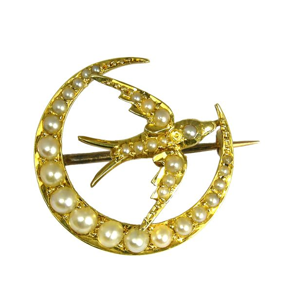 second hand pre loved cresent & swallow seed pearl brooch from AA Thornton Kettering Northampton