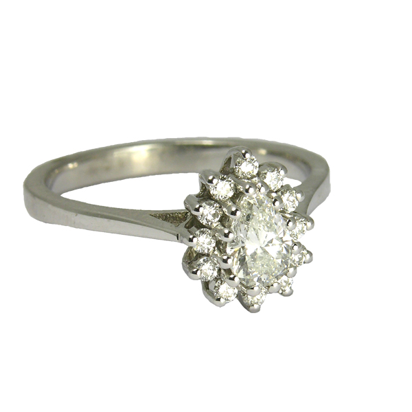 second hand pre loved18ct white gold pear shape diamond cluster ring from AA Thornton Kettering Northampton