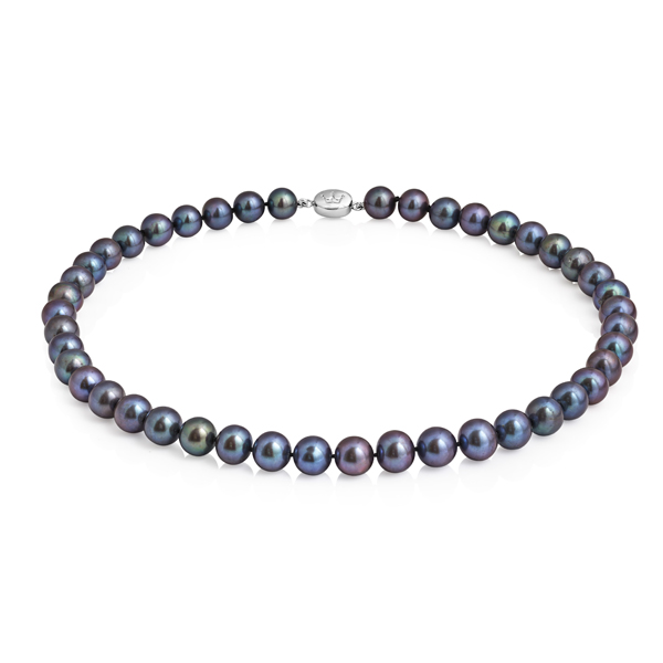 Classic peacock grey freshwater pearl necklet from AA Thornton Kettering Northampton Stamford