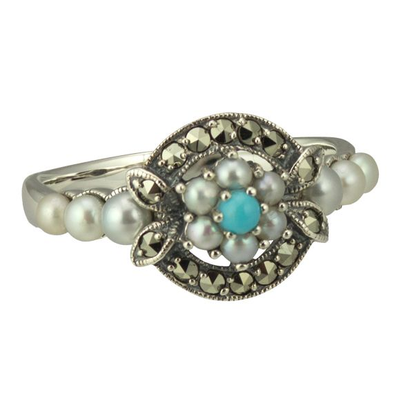Silver Turquoise Marcasite & Pearl Cluster Ring from AA Thornton
