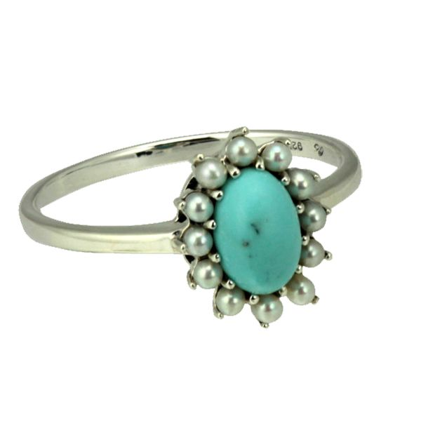 Silver Turquoise Pearl & Marcasite Ring from AA Thornton