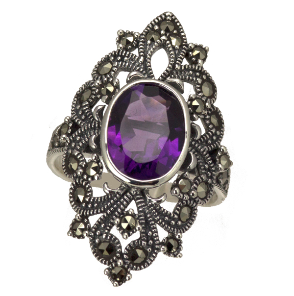 Silver amethyst & marcasite large ring from AA Thornton Kettering Northampton