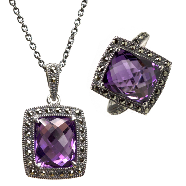 Silver amethyst & marcasite pendant & ring from AA Thornton Kettering Northampton