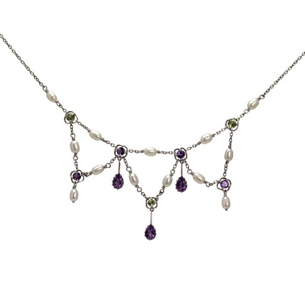 Silver amethyst, pearl & peridot drop necklace from AA Thornton Kettering Northampton