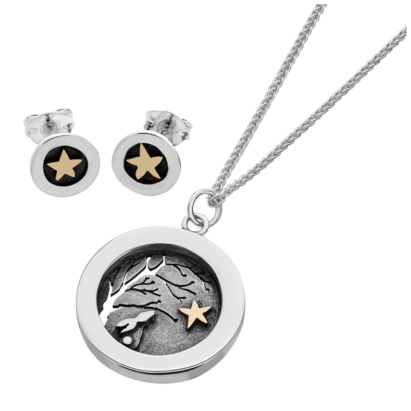 Linda Macdonald Silver and 9ct GoldTwilight stud earrings and pendant on chain from AA Thornton Kettering Northampton Stamford