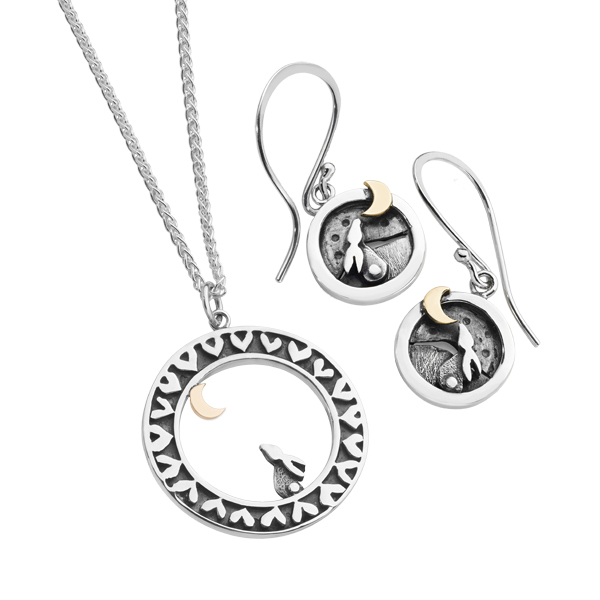 Linda Macdonald Silver and 9ct gold Moondance drop earrings and pendant on chain from AA Thornton Kettering Northampton Stamford