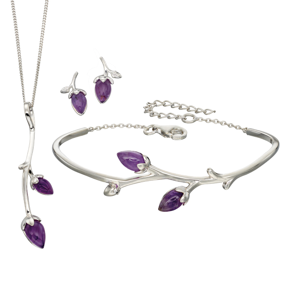 Silver blossom amethyst pendant, bangle & earring from AA Thornton Kettering Northampton