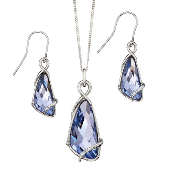 Silver lavender swarovski crystal earrings & pendant on chain from AA Thornton Serving Kettering Northampton Oundle Stamford Oakham Uppingham