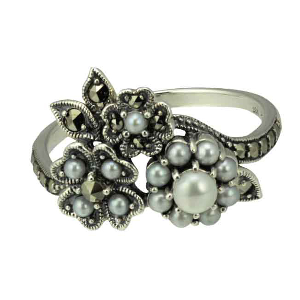 Silver seed pearl & marcasite floral ring from AA Thornton Ketterting Northampton  Stamford Oakham