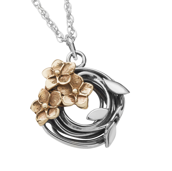 Linda Macdonald silver and 9ct gold flower Entwined pendant on silver chain from AA Thornton Kettering Northampton Stamford