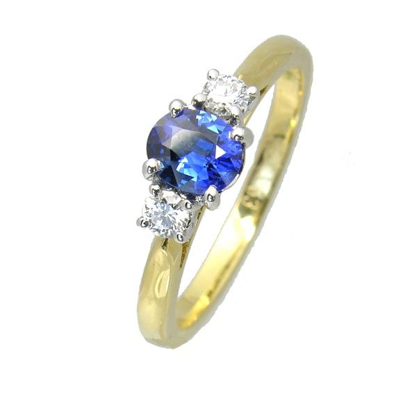 18 ct yellow gold sapphire & diamond 3 stone ring £1,220 on Sally Thornton Jewellery Blog from Thorntons Jewellers Kettering