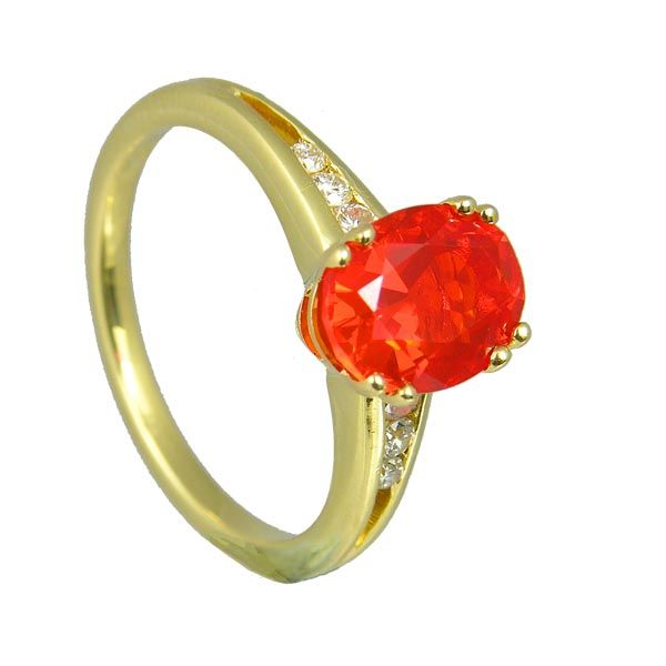 18ct Fire Opal & Diamond Ring on Sally Thornton Jewellery Blog from Thorntons Jewellers Kettering