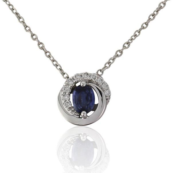 18ct White Gold Diamond and Sapphire Pendant on Sally Thornton Jewellery blog from Thorntons Jewellers Kettering