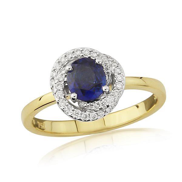 18ct Yellow gold diamond & sapphire twirl ring £1,550 on Sally Thornton Jewellery Blog from Thorntons Jewellers Kettering Northampton