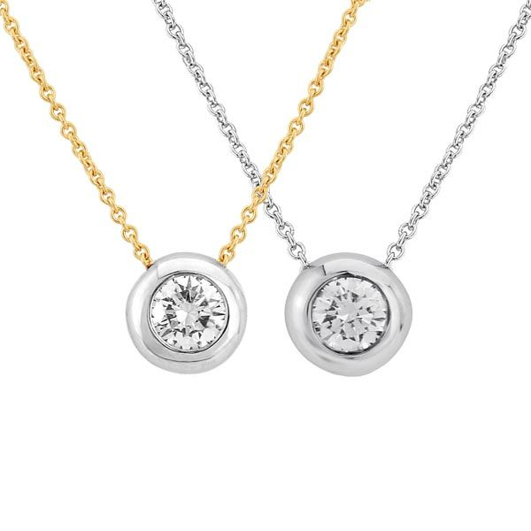 18ct diamond set pendants in white or yellow gold from Thorntons Jewellers Kettering Northampton