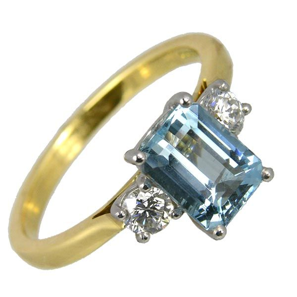 18ct gold aquamarine ring set with diamonds £2,695 on Sally Thornton jewellery blog from Thorntons Jewellers Kettering Northampton