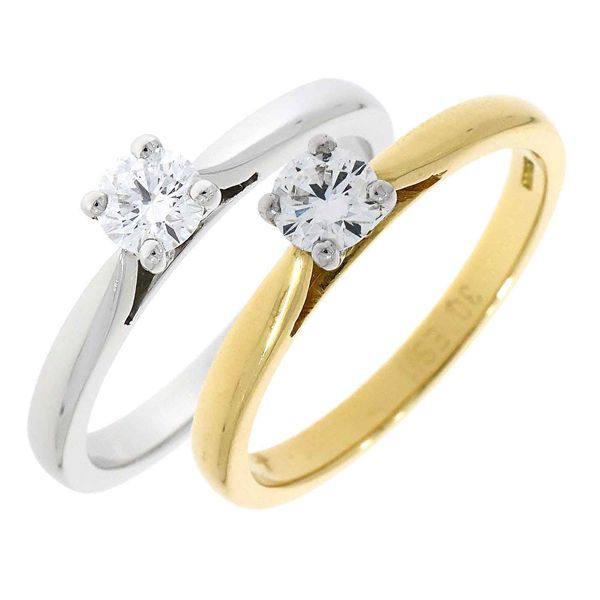 18ct single stone diamond ring on yellow or white gold from AA Thornton Jewellery Kettering Northampton