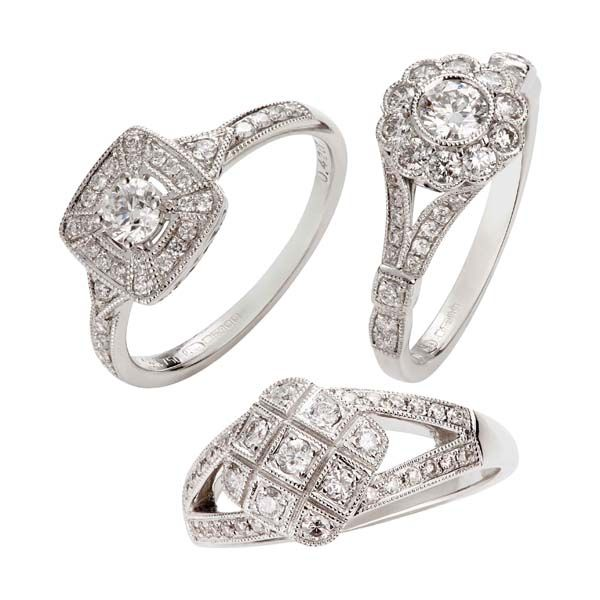 18ct white gold Art Deco style pave set diamond rings from Thorntons Jewellers Kettering Northampton