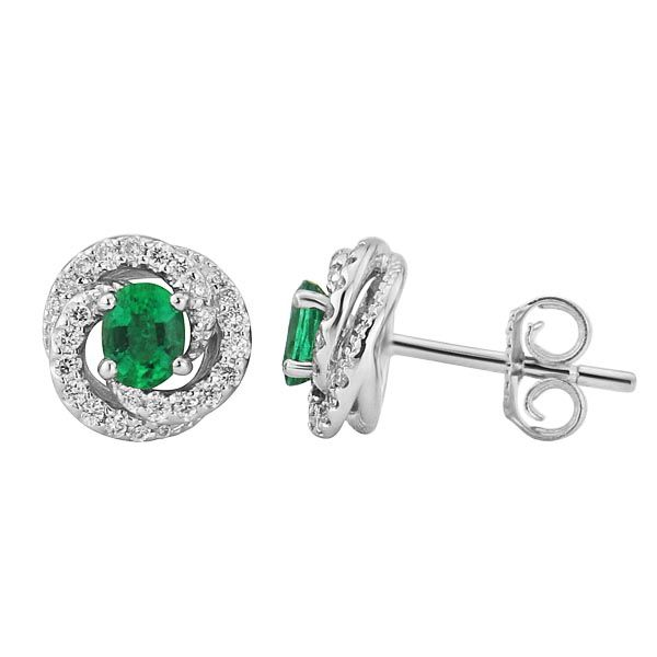 18ct white gold emerald & diamond fleur earrings £1,295 from Sally Thornton Jewellery blog at Thorntons Jewellers Kettering Northampton