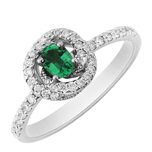 18ct white gold emerald & diamond fleur ring £1,250 from Sally Thornton Jewellery blog at Thorntons Jewellers Kettering Northampton