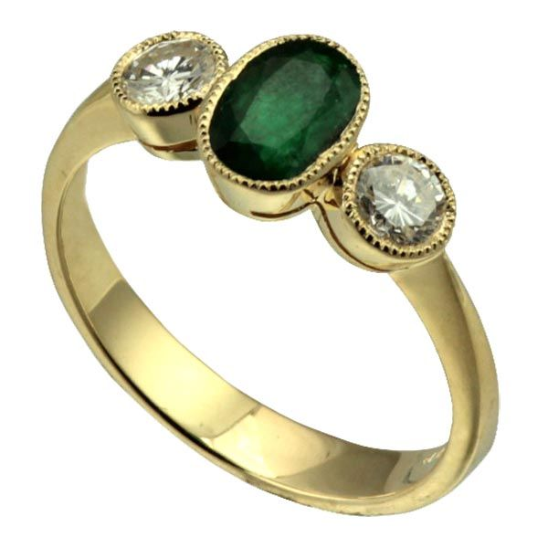 18ct yellow gold 3 stone diamond (0.50pt) and emerald yellow gold ring £3,200 from Sally Thornton Jewellery blog at Thorntons Jewellers Kettering