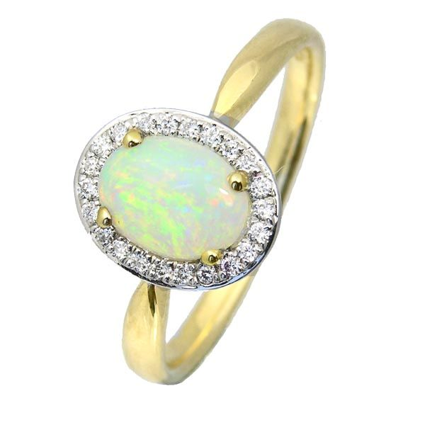 18ct yellow gold oval opal & diamond cluster ring sally Thornton Jewellery Blog Thorntons Jewellers Kettering