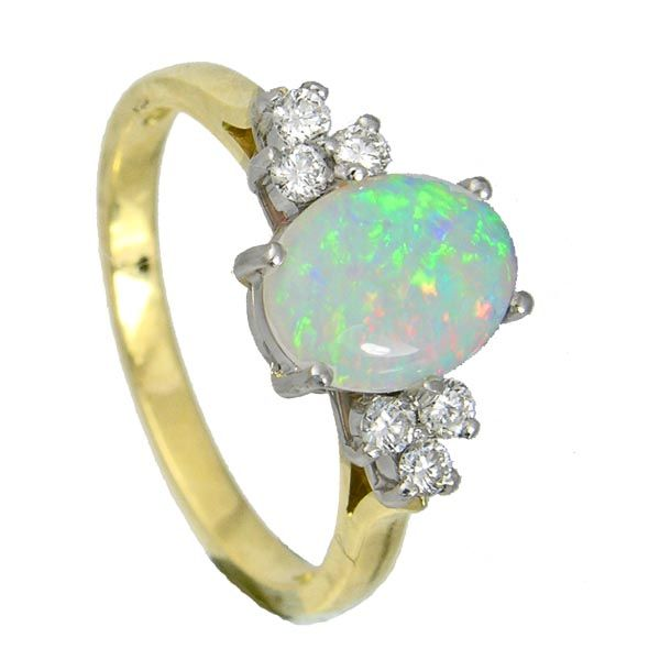 18ct yellow gold oval opal & diamond ring £1,445 on Sally Thornton Jewelley blog from Thorntons jewellers Kettering