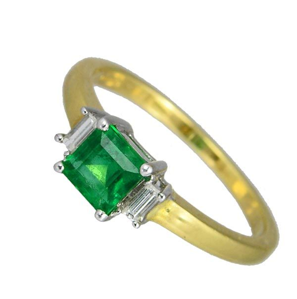 18ct yellow gold square cut emerald ring with diamond set shoulder £1,580 from Sally Thornton Jewellery blog at Thorntons Jewellers Kettering