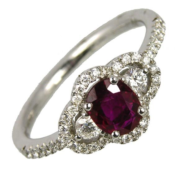 18ct white gold ruby & diamond cluster ring £2,055 on Sally Thornton jewellery blog from Thorntons Jewellers Kettering Northampton