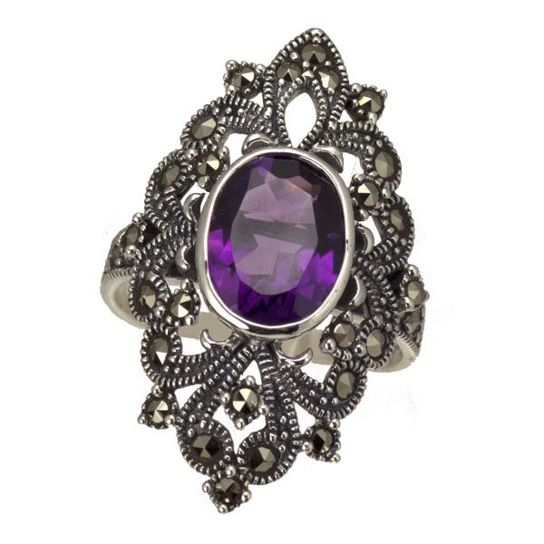 Silver amethyst & marcasite large ring £67 on Sally Thornton jewellery blog from Thorntons Jewellers Kettering Northampton