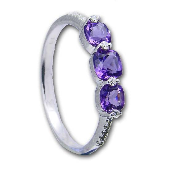 9ct White Gold 3 stone Amethyst & Diamond Ring £320 On Sally Thornton Jewellery blog from Thorntons Jewellers Kettering Northampton