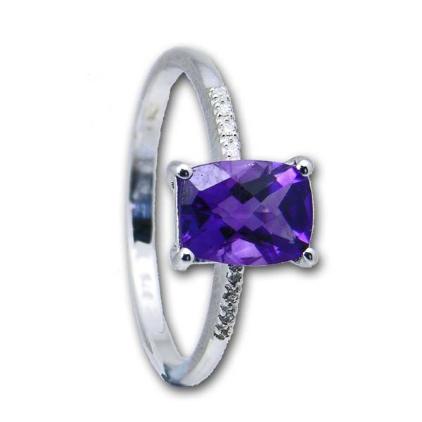 9ct White Gold Amethyst & Diamond Ring £220 On Sally Thornton Jewellery blog from Thorntons Jewellers Kettering Northampton
