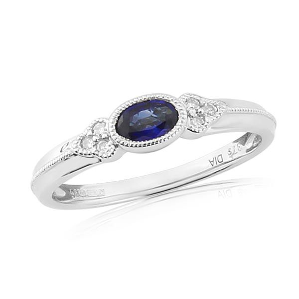 9ct White Gold Diamond and Sapphire Ring on Sally Thoprnton Jewellery blog from Thorntons Jewellers Kettering