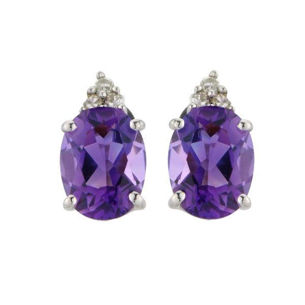 9ct White Gold Oval Amethyst and Diamond Earrings £275 On Sally Thornton Jewellery blog from Thorntons Jewellers Kettering Northampton