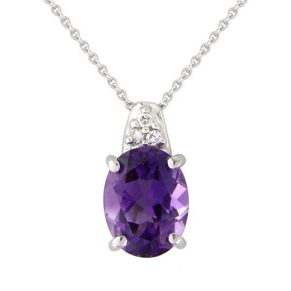 9ct White Gold Oval Claw set Amethyst and diamond pendant from Thorntons Jewellers Kettering Northampton