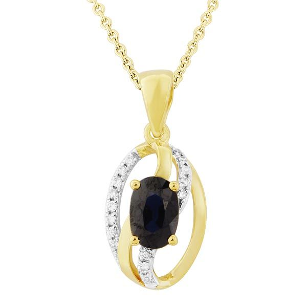 9ct Yellow Gold Diamond and Sapphire Oval Pendant on Sally Thornton Jewellery Blog from Thorntons Jewellers Kettering Northampton